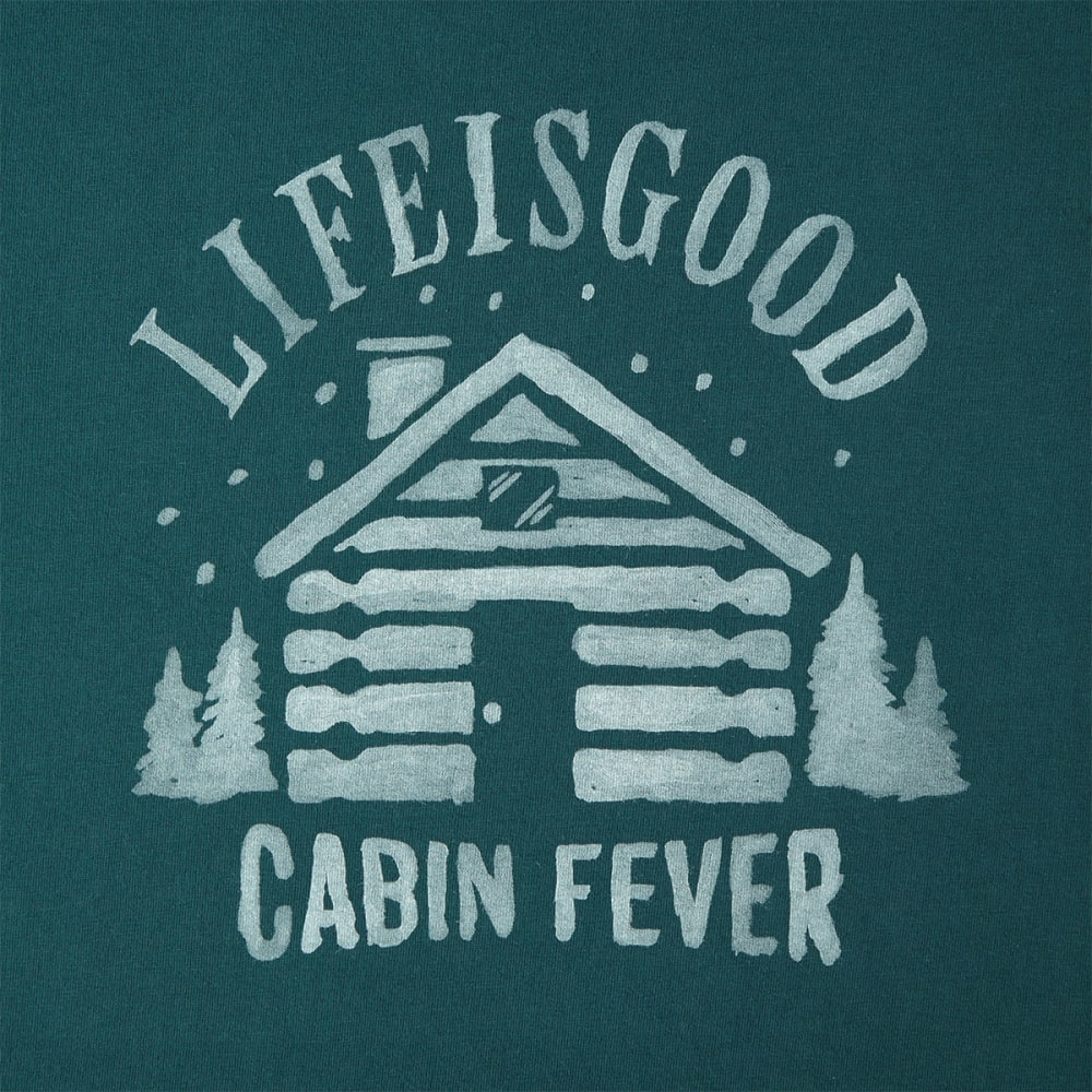 LIFE IS GOOD Men's Cabin Fever Long-Sleeve Crusher Tee - BALSAM GREEN