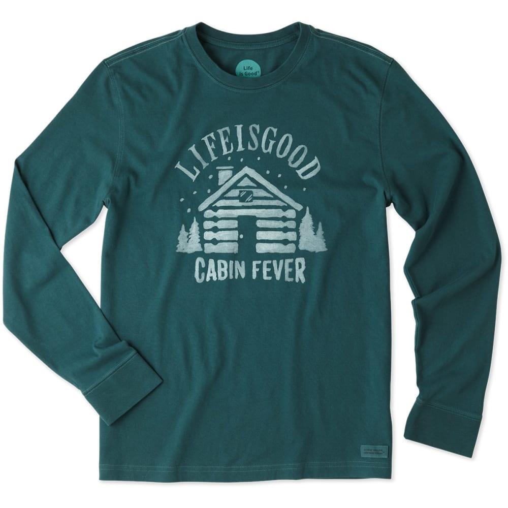 LIFE IS GOOD Men's Cabin Fever Long-Sleeve Crusher Tee - BALSAM GREEN