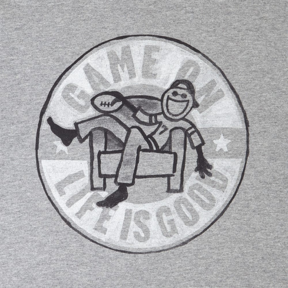 LIFE IS GOOD Men's Game On Football Long-Sleeve Crusher Tee - HEATHER GRAY