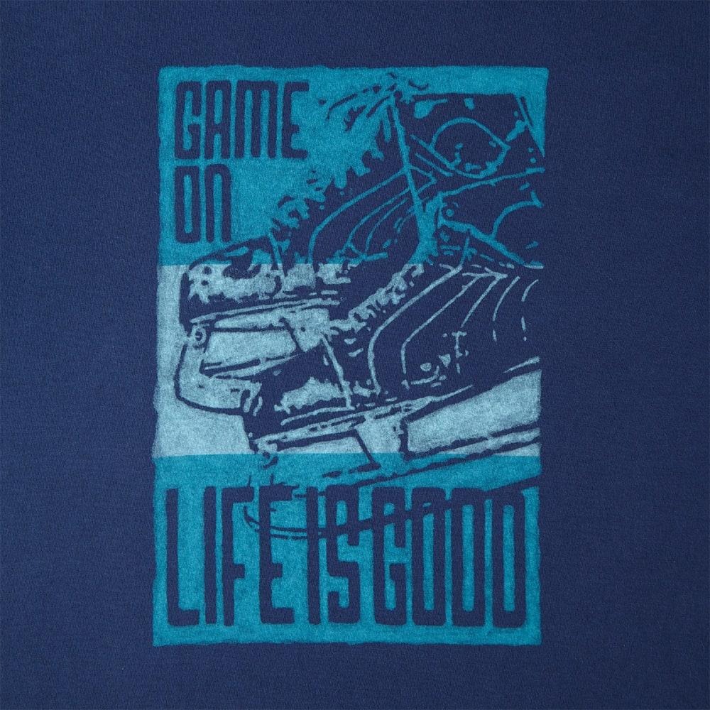 LIFE IS GOOD Men's Game On Skates Long-Sleeve Crusher Tee - DARKEST BLUE