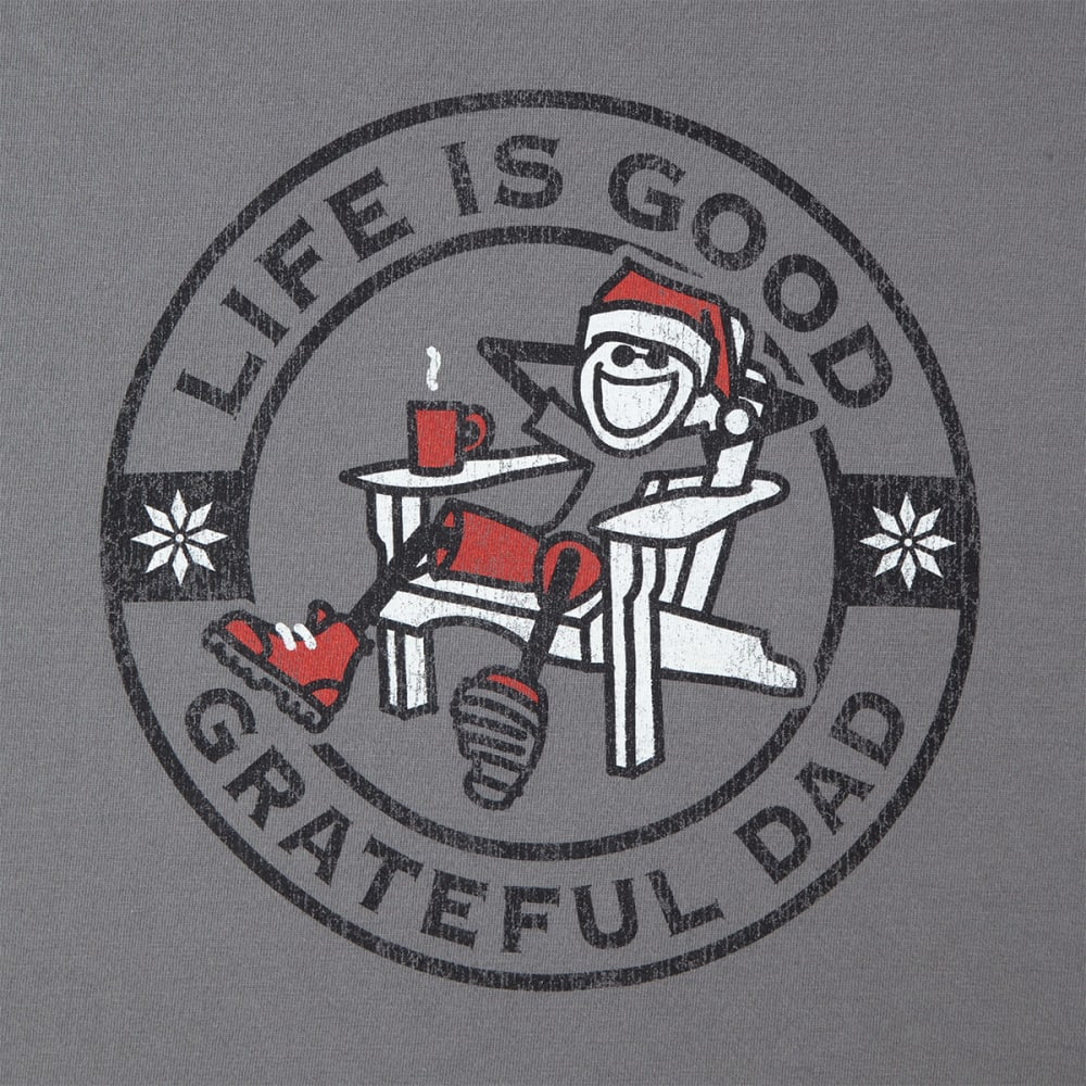 LIFE IS GOOD Men's Grateful Dad Holiday Long-Sleeve Crusher Tee - SLATE GRAY