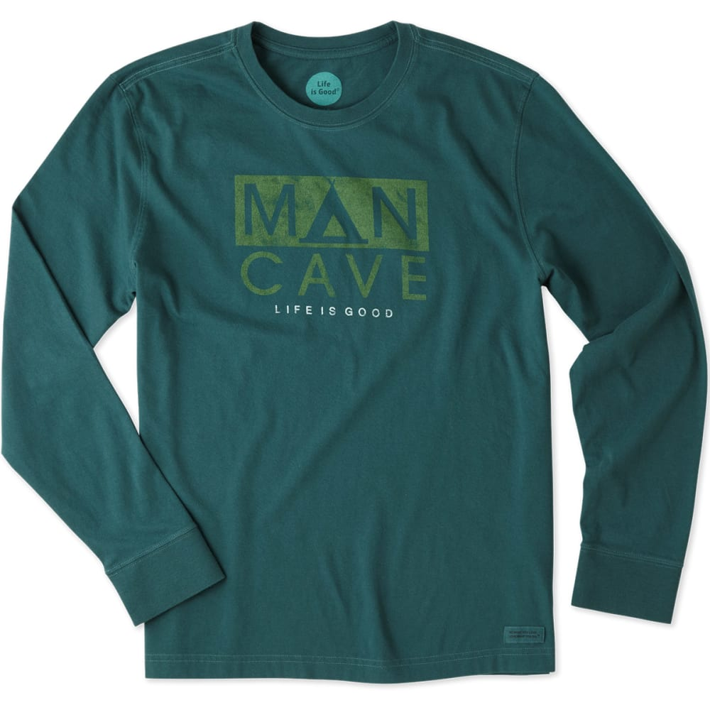 LIFE IS GOOD Men's Man Cave Tent Long-Sleeve Crusher Tee - BALSAM GREEN
