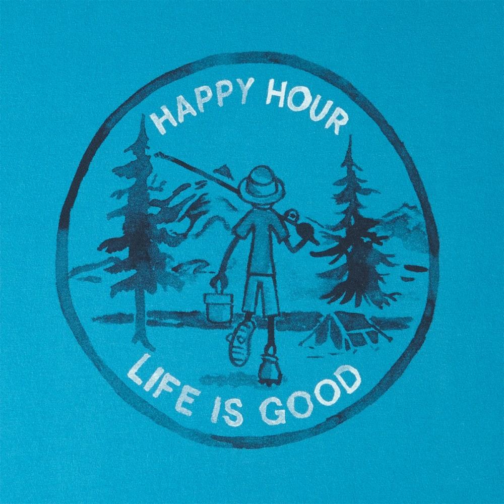 LIFE IS GOOD Men's Happy Hour Fishing Short Sleeve Crusher Tee - DENIM BLUE