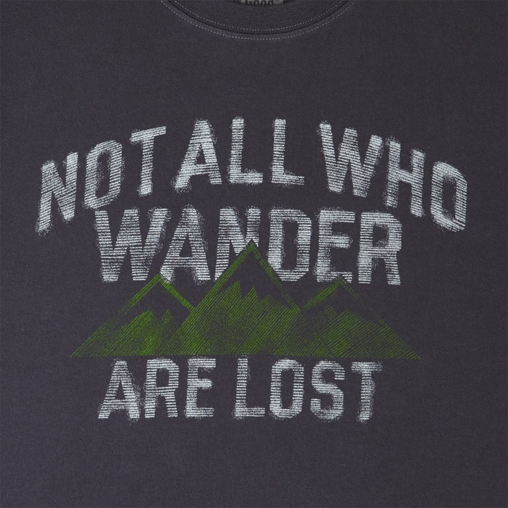 LIFE IS GOOD Men's Not All Who Wander Are Lost Short Sleeve Crusher Tee - NIGHT BLACK