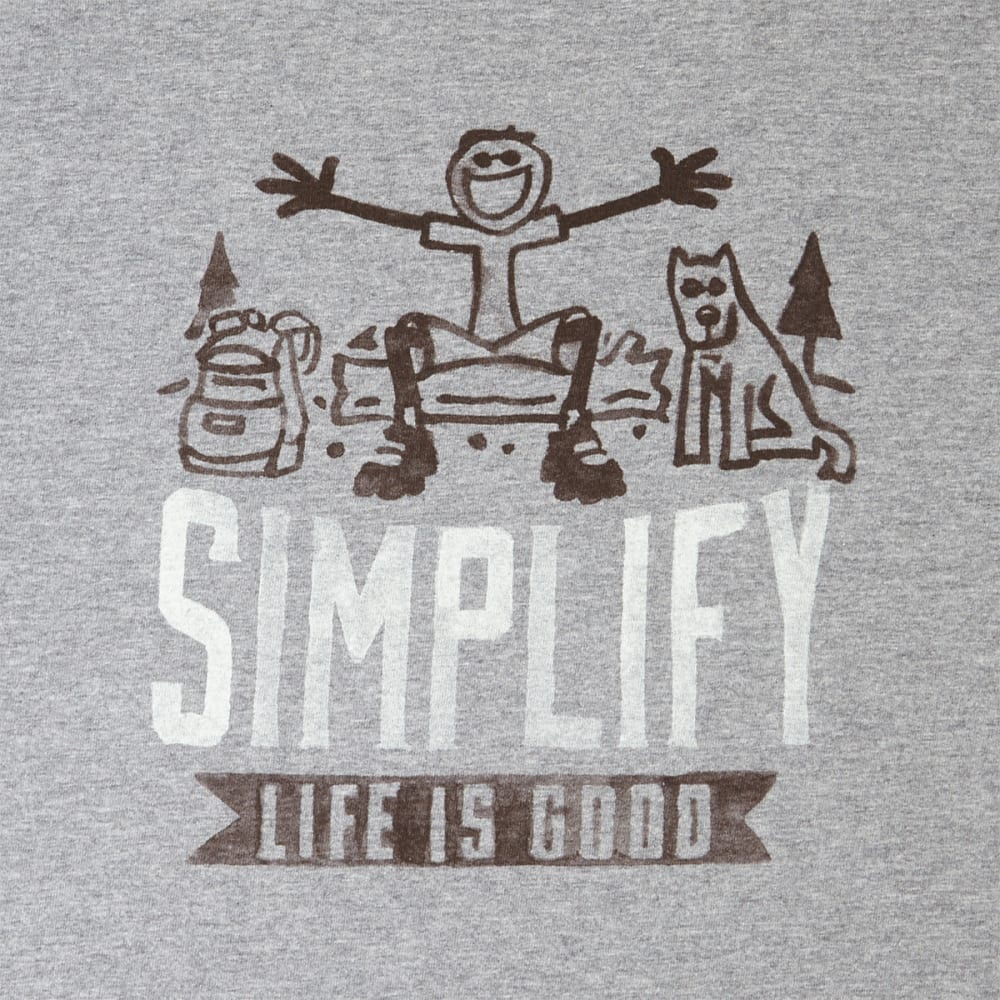 LIFE IS GOOD Men's Simplify Life Short Sleeve Crusher Tee - HEATHER GRAY