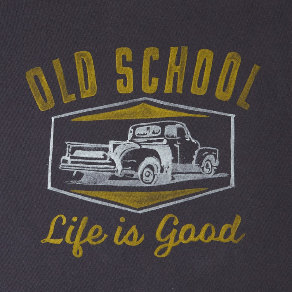 LIFE IS GOOD Men's Old School Pickup Truck Short Sleeve Crusher Tee - NIGHT BLACK