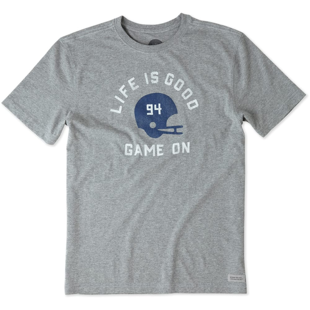 LIFE IS GOOD Men's Football Helmet Short Sleeve Crusher Tee - HEATHER GREY