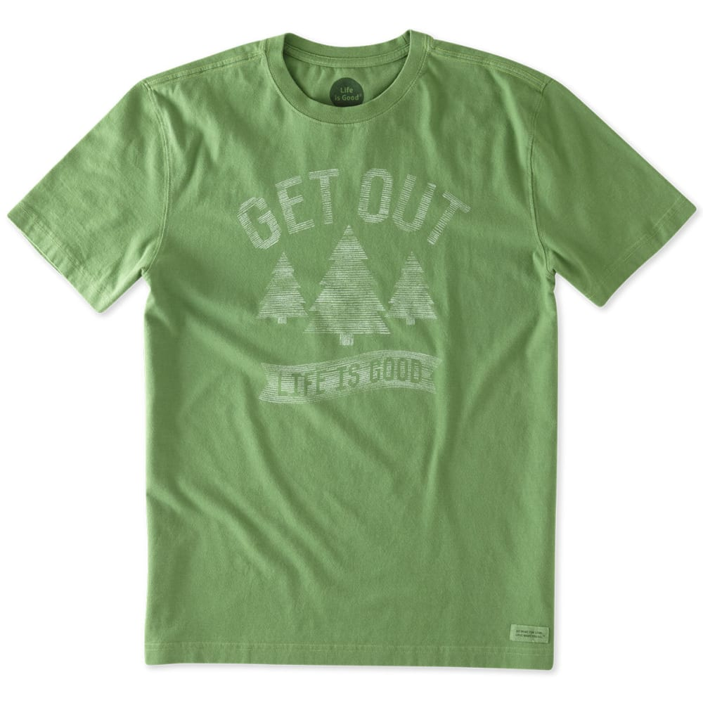 LIFE IS GOOD Men's Get Out Short Sleeve Crusher Tee - TREETOP GREEN
