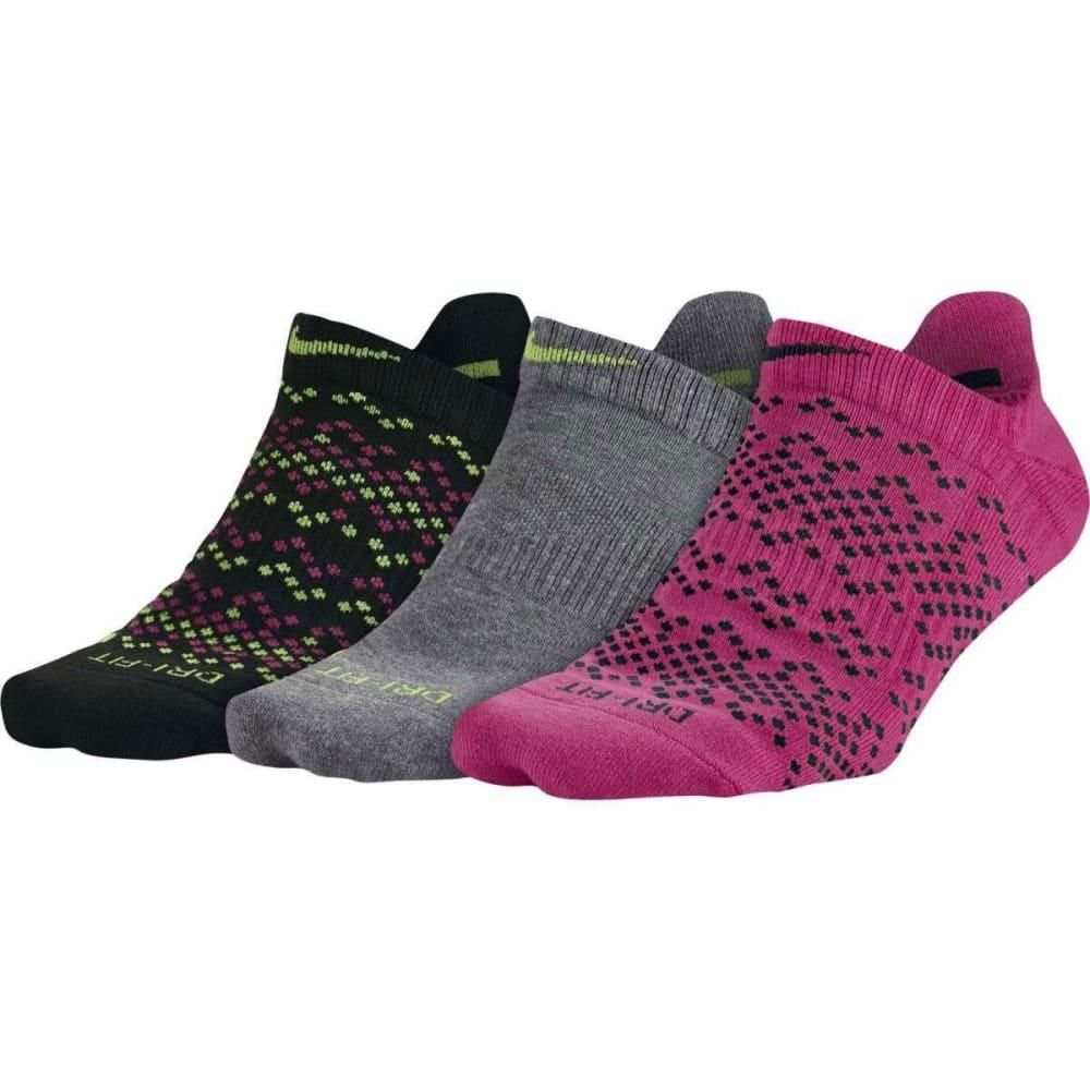 NIKE Women's Dri-FIT Graphic No-Show Running Socks, 3-Pack - BLACK/PINK MULTI 903