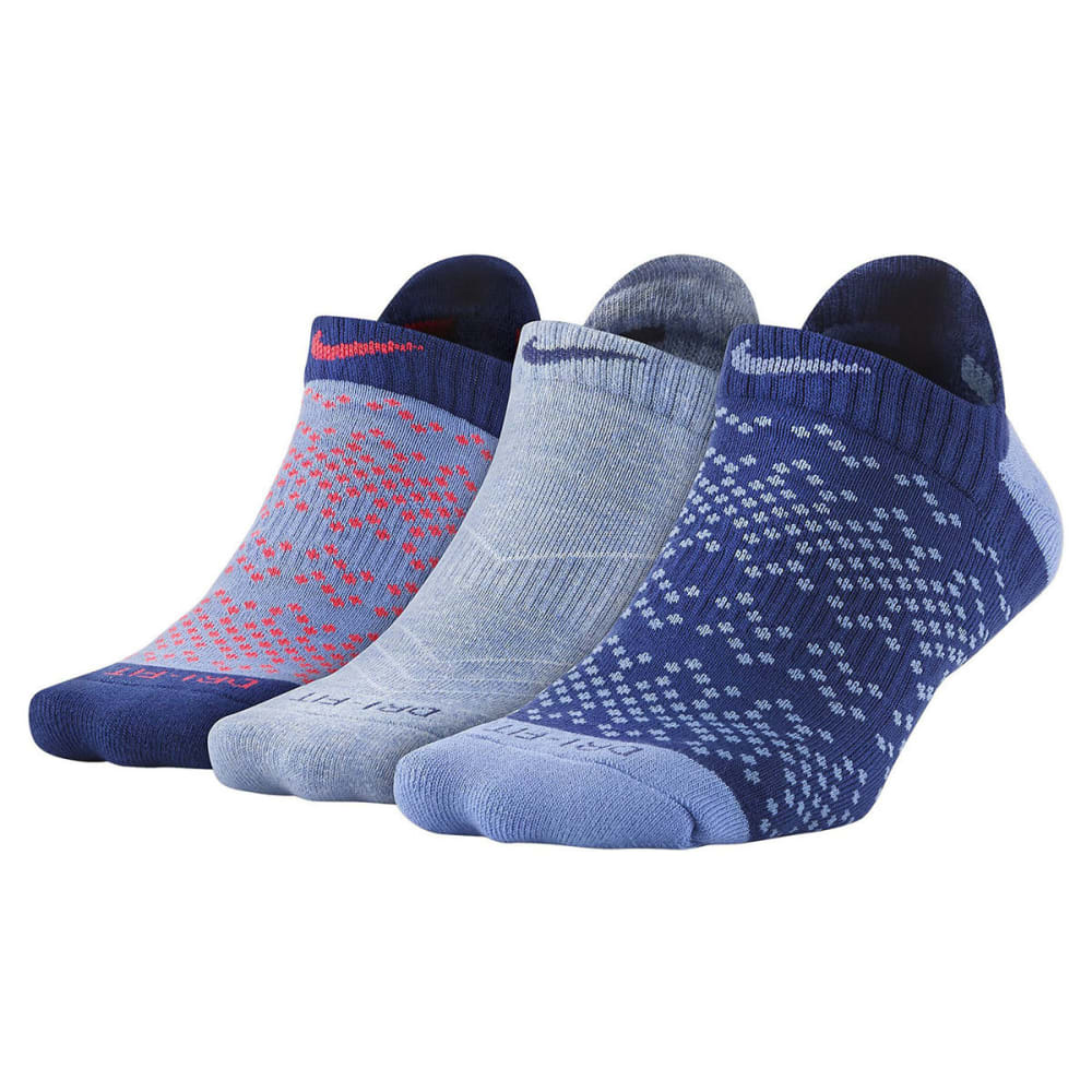 NIKE Women's Dri-FIT Graphic No-Show Running Socks, 3-Pack M