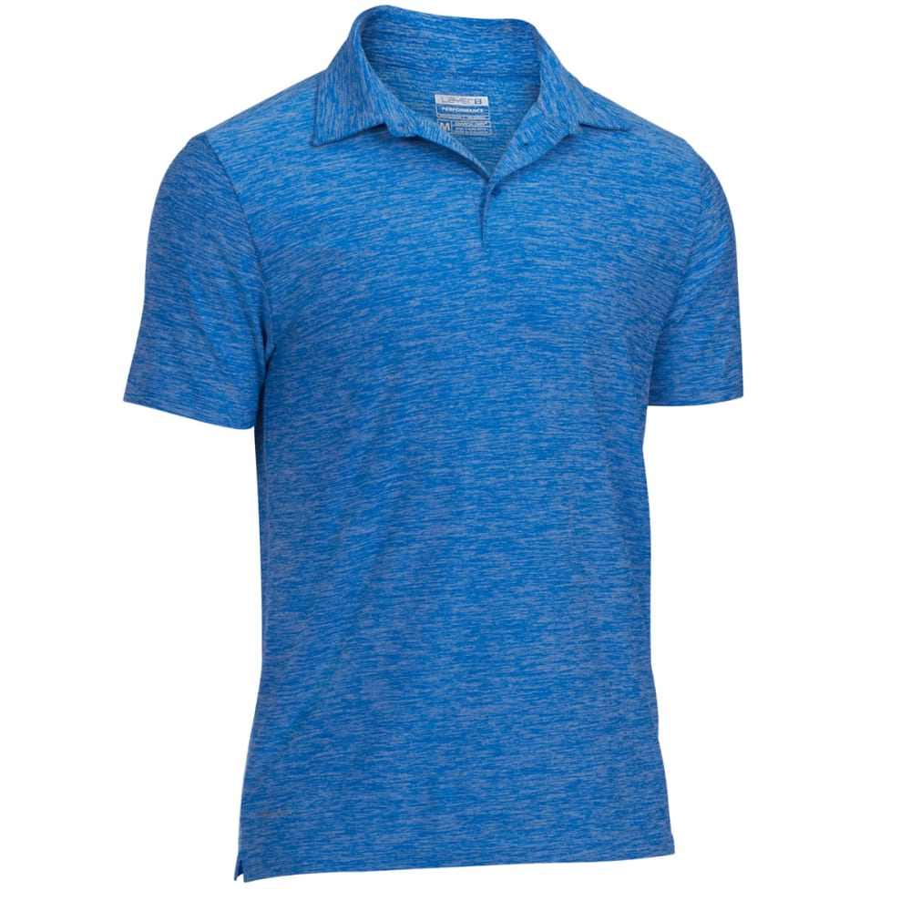 LAYER 8 Men's Stretch Chunky Heather Polo - BLUE THRILL- BT+