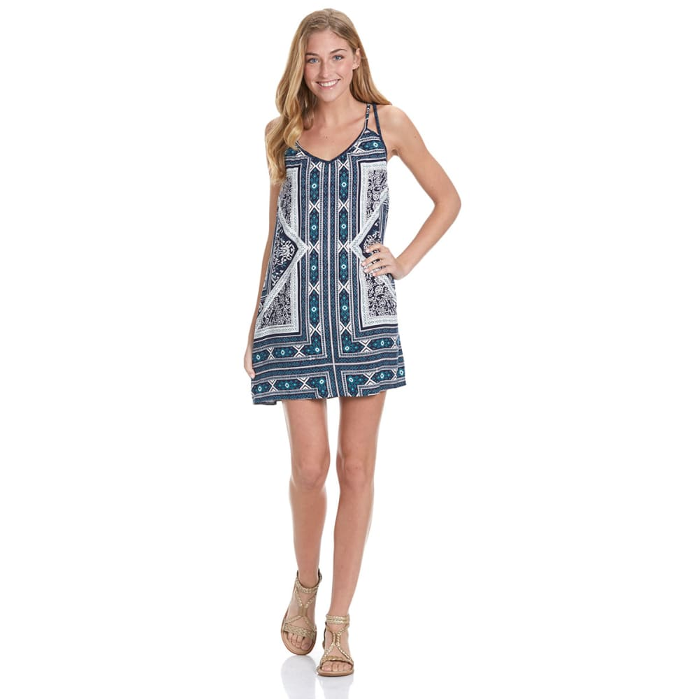 ANGIE Juniors' Double Strap Boho Dress - FJ65-NAVY