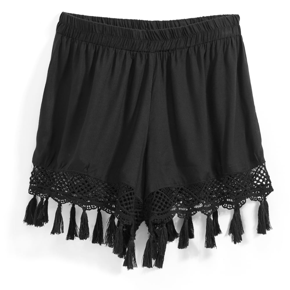 ANGIE Juniors' Soft Shorts with Crochet Tassel Edge - SOLID BLACK