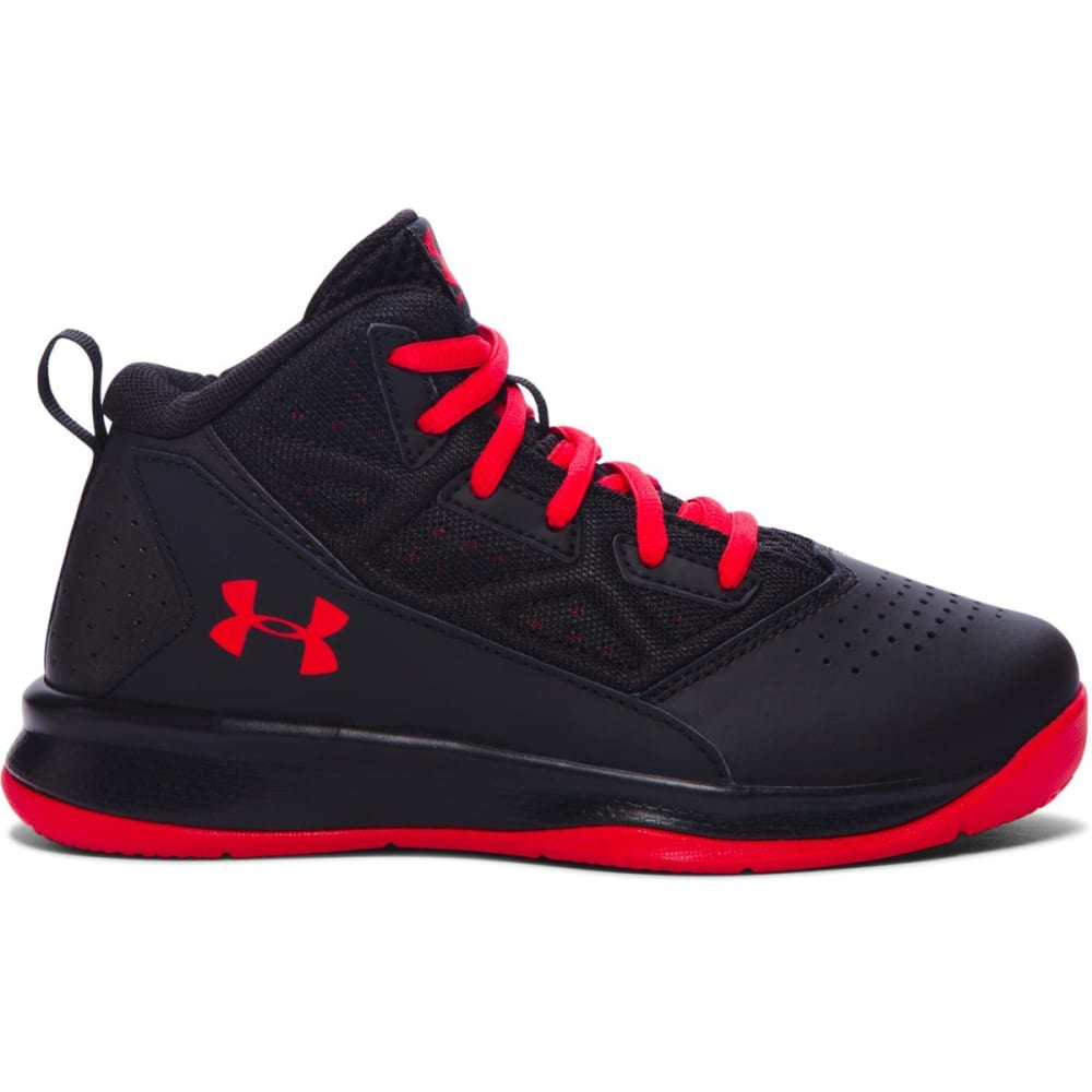 UNDER ARMOUR Boys' Grade School Jet Mid Basketball Shoes - BLACK RED