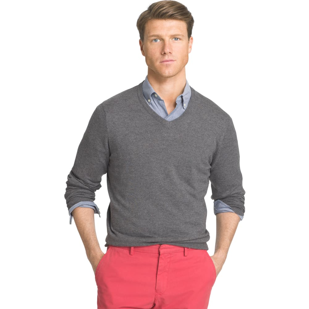 IZOD Men's Fieldhouse Fine Gauge V-Neck Sweater - 011-CARBON HTR