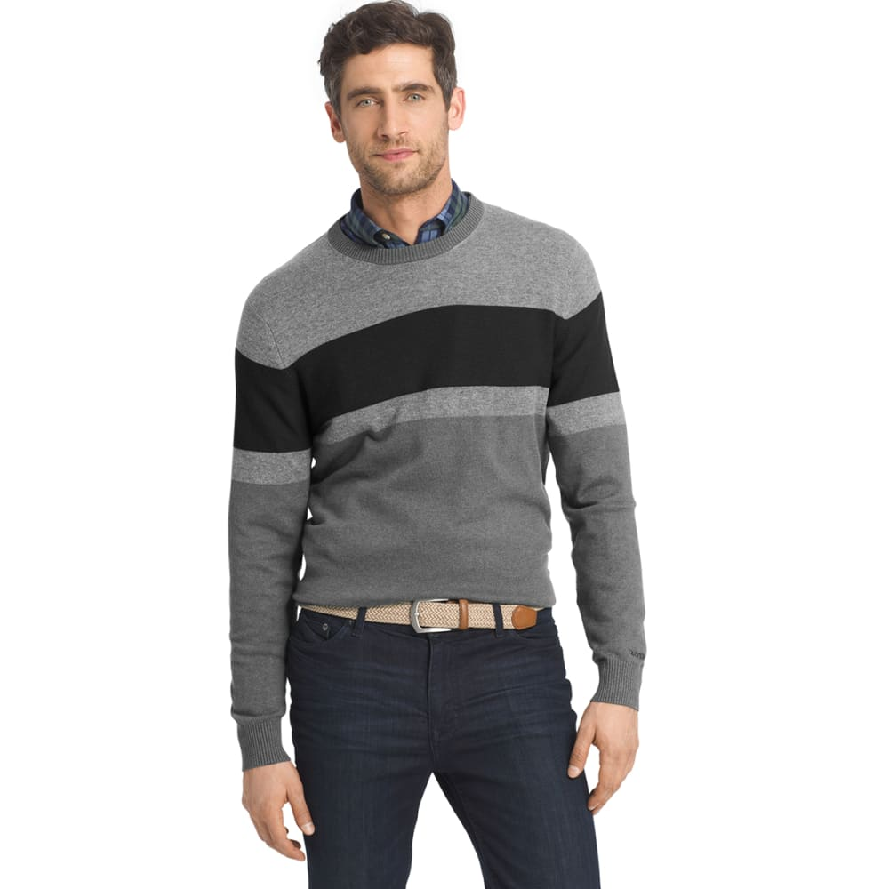 IZOD Men's Fieldhouse Fine-Gauge Color-Blocked Crewneck Sweater - 011-CARBON