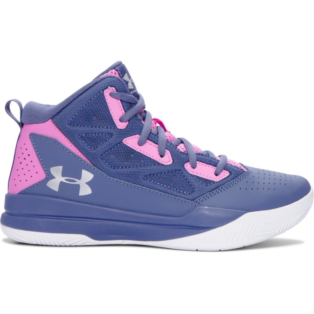 UNDER ARMOUR Girls' Grade School Jet Mid Basketball Shoes - PURPLE/violet/silver