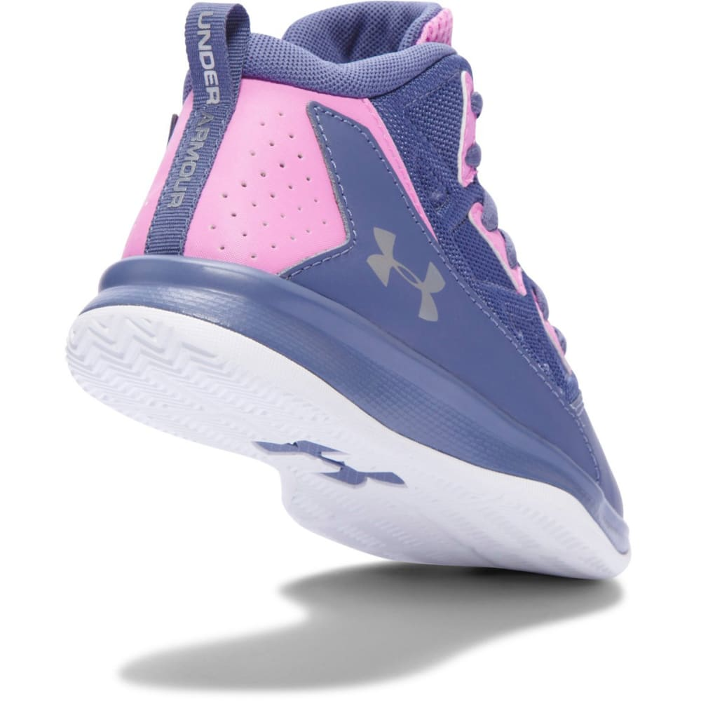 UNDER ARMOUR Girls' Pre-School Jet Mid Basketball Shoes - PURPLE/VIOLET/SIL