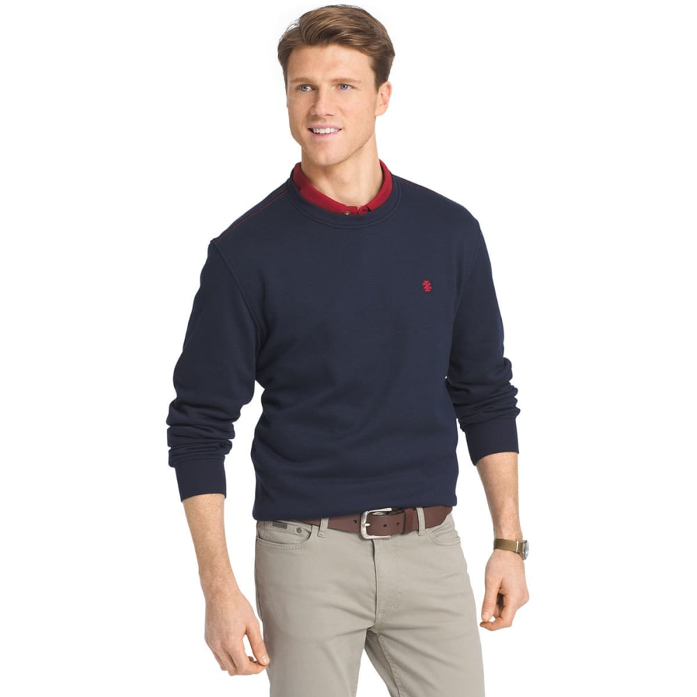 IZOD Men's Sueded Crewneck Fleece Pullover - 441-PEACOAT HTR