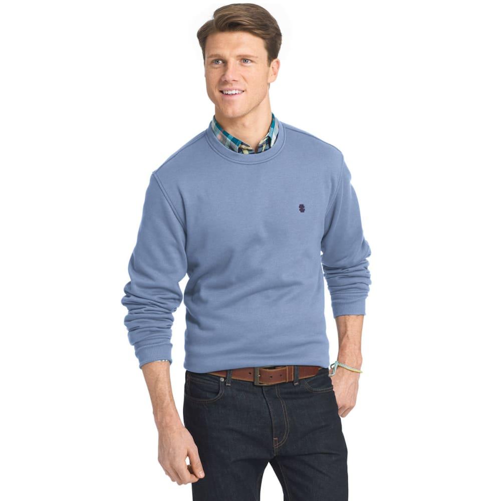 IZOD Men's Sueded Crewneck Fleece Pullover - 410-COLONY BLUE HTR