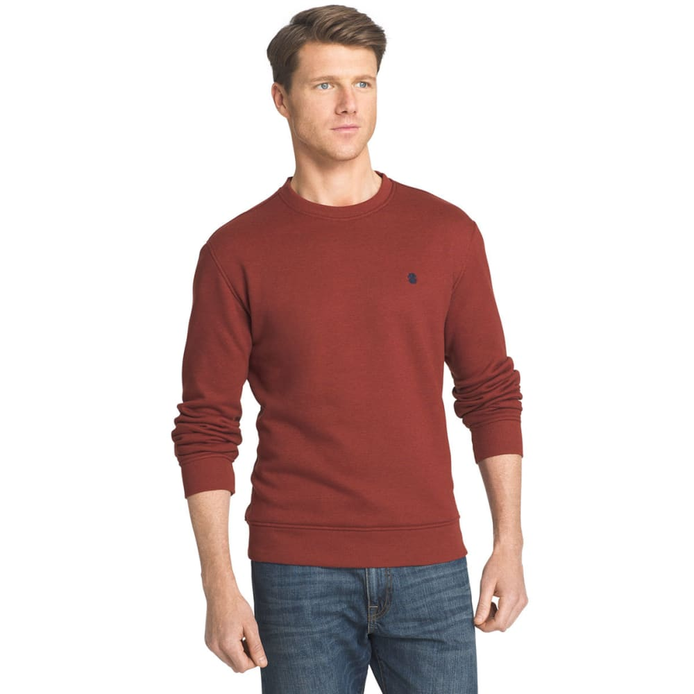 IZOD Men's Sueded Crewneck Fleece Pullover - 618-ROOIBOS TEA HTR