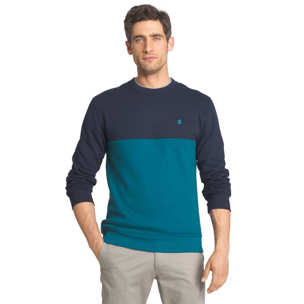IZOD Men's Color-Blocked Sueded Crewneck Fleece Pullover - 485-OCEAN DEPTH HTR