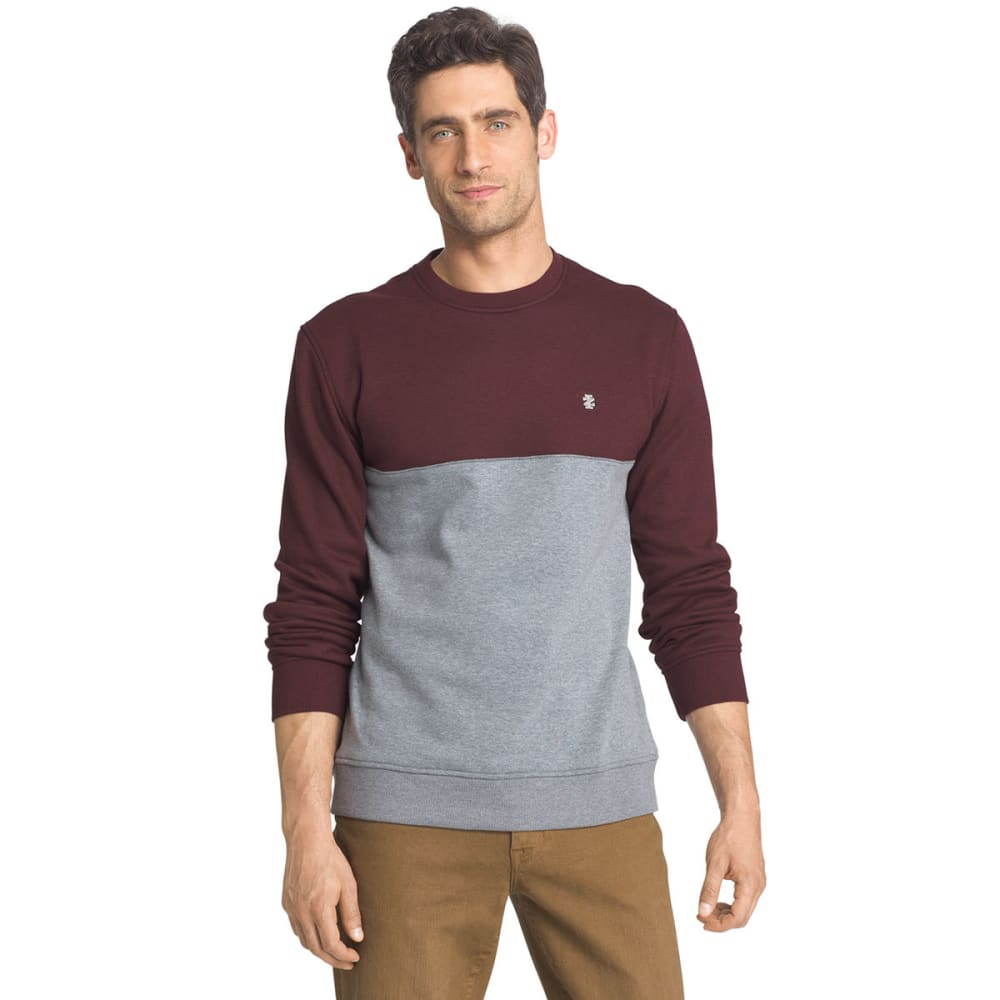 IZOD Men's Color-Blocked Sueded Crewneck Fleece Pullover - 506-FIG HTR