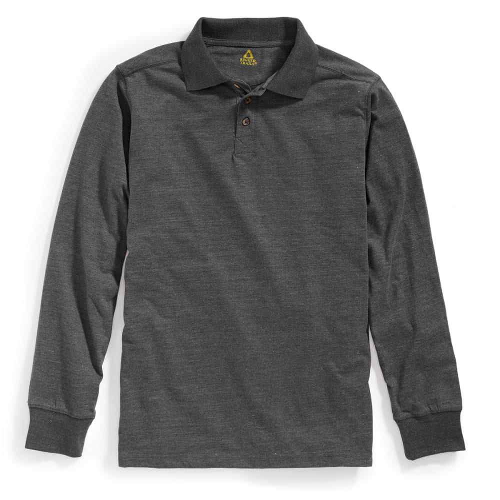 RUGGED TRAILS Men's Sueded Long-Sleeve Polo - NAVY