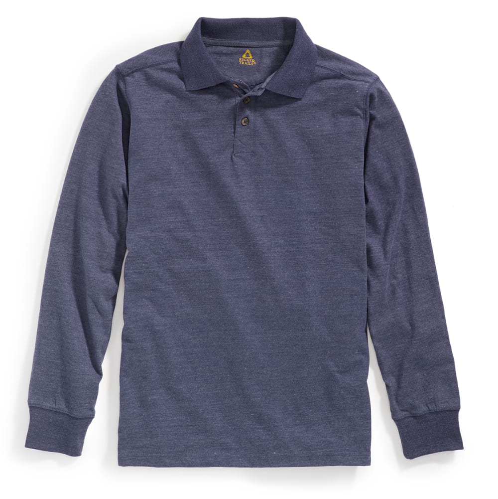 RUGGED TRAILS Men's Sueded Long-Sleeve Polo - INDIGO HTR