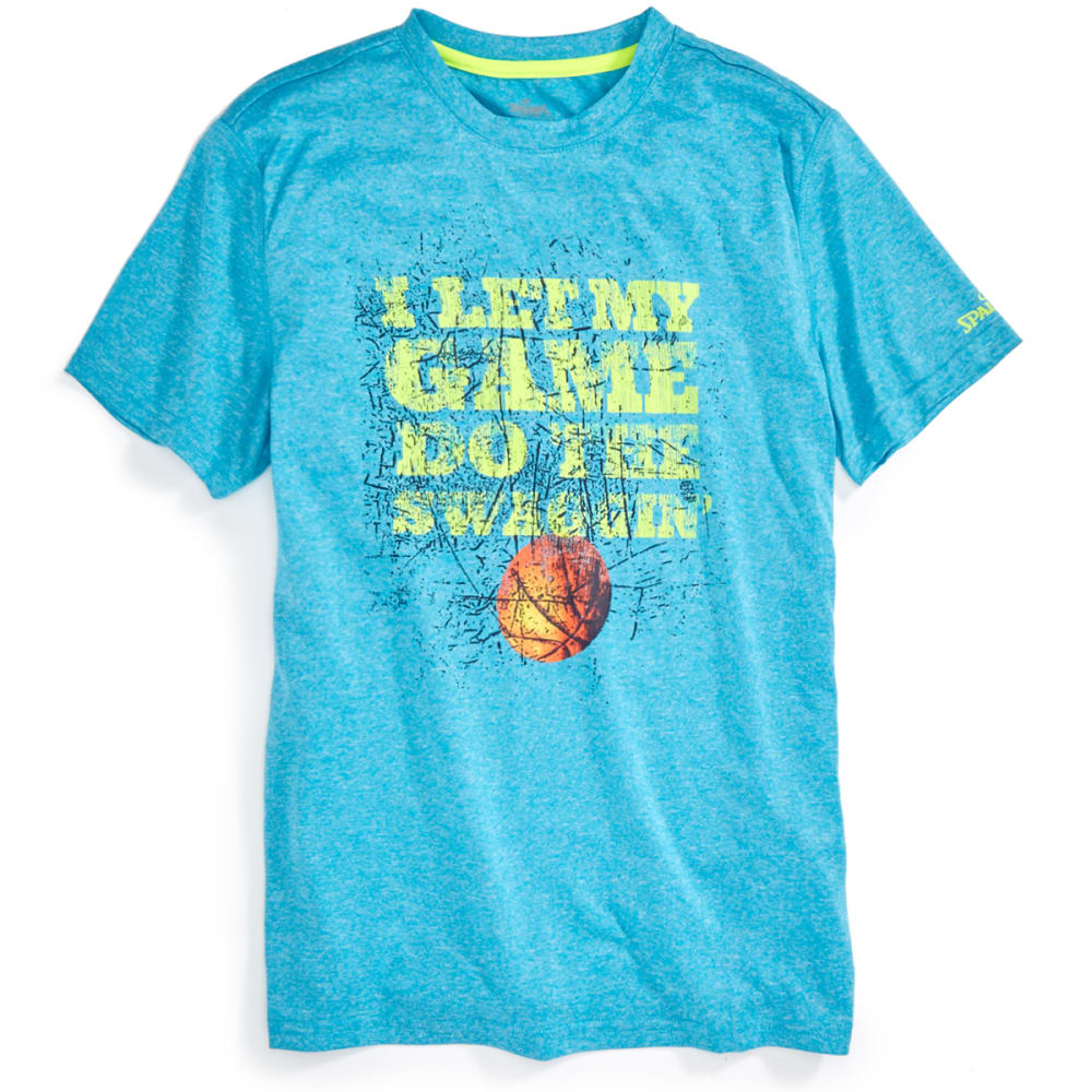 SPALDING Boys' Let My Game Do The Swaggin' Tee - ATOMIC BLUE HEATHER