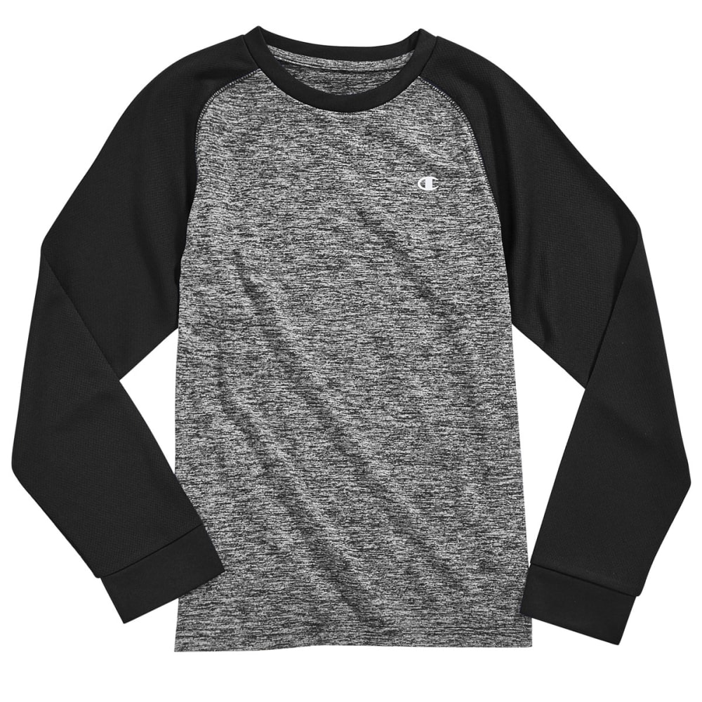 CHAMPION Boys' Long Sleeve Tech Raglan Tee - BLACK HEATHER