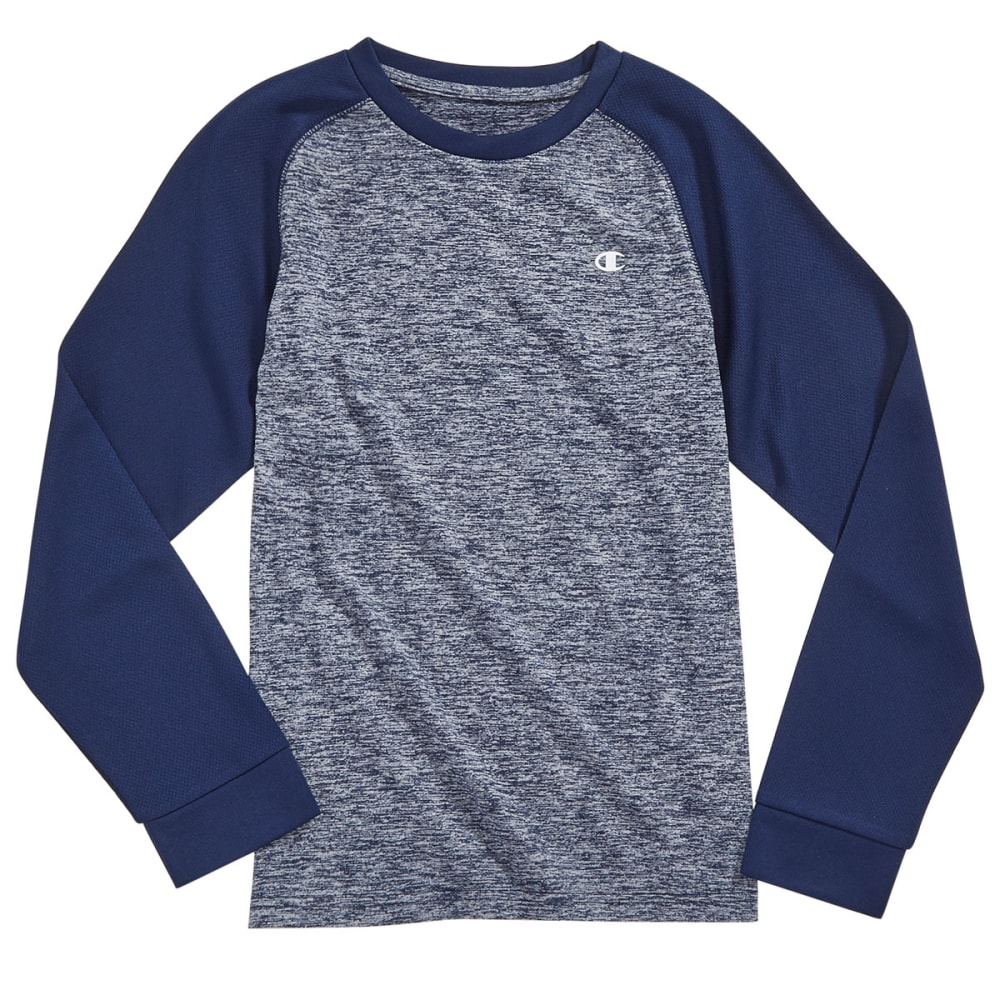 CHAMPION Boys' Long Sleeve Tech Raglan Tee - NAVY HEATHER/NAVY