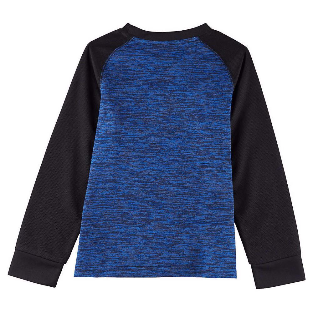 CHAMPION Boys' Long Sleeve Tech Raglan Tee - AWESOME BLUE/BLK