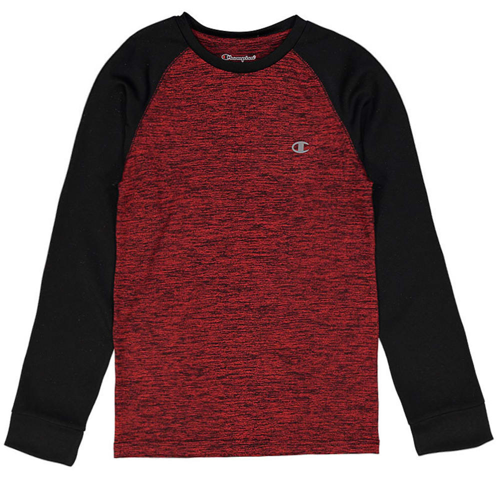 CHAMPION Boys' Long Sleeve Tech Raglan Tee - CRIMSON/BLACK