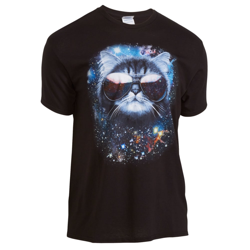 HYBRID Men's Meowter Space Graphic Tee - BLACK