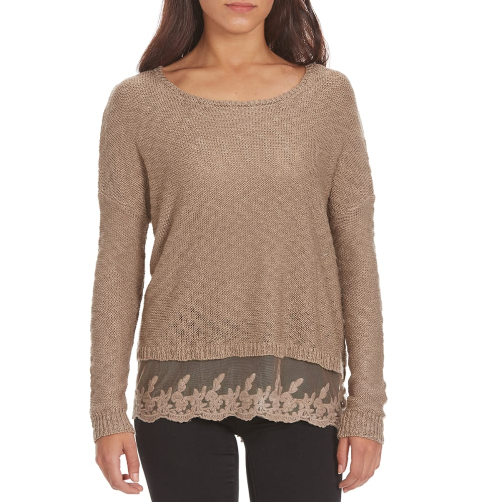 BY DESIGN Women's Lace Hem Sweater - FUNGI