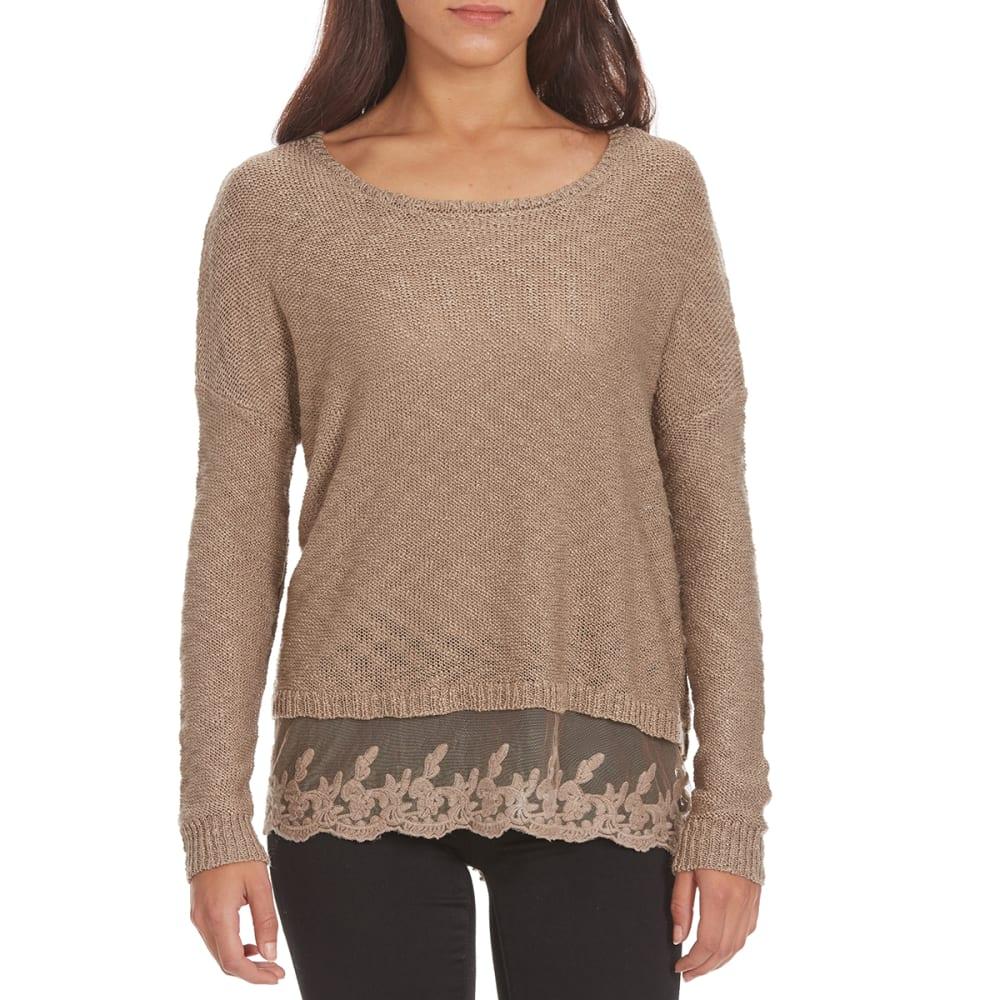 BY DESIGN Women's Lace Hem Sweater - FUNGI