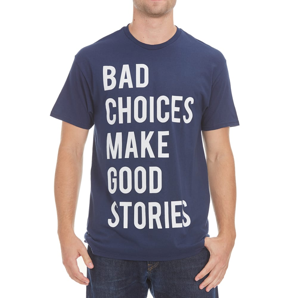 HYBRID Guys' Bad Choices, Good Stories Short-Sleeve Tee - NAVY