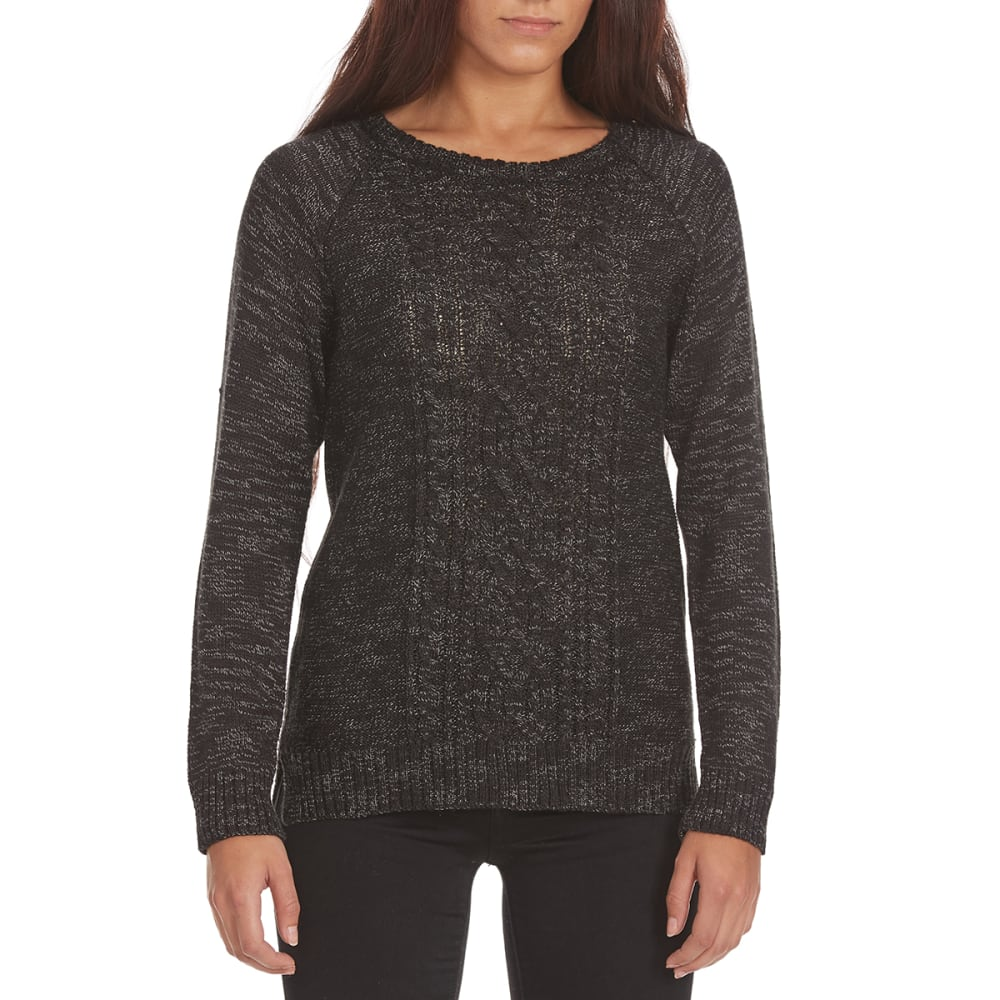 BY DESIGN Women's Marled Cable Knit Sweater - BLACK RAVEN