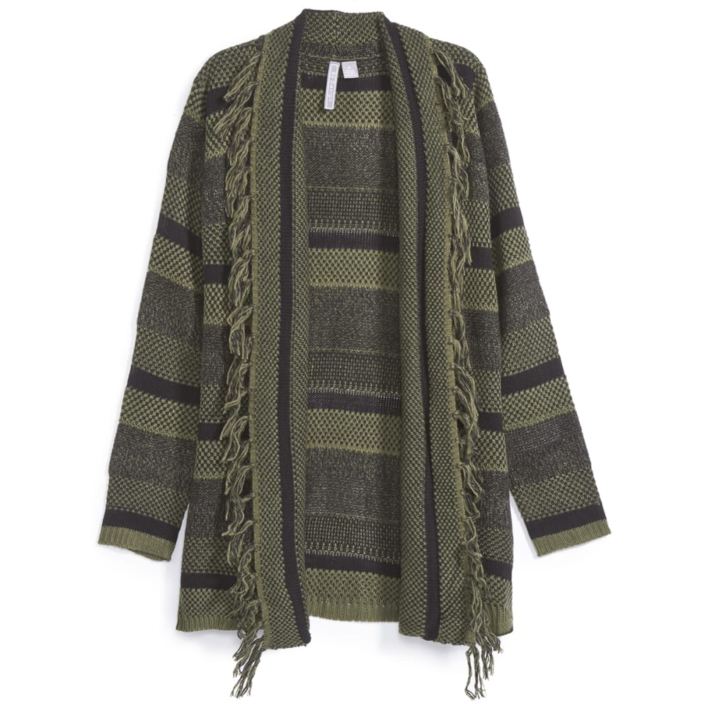 BY DESIGN Women's Striped Fringe Cardigan - BLACK/OLIVE GREEN