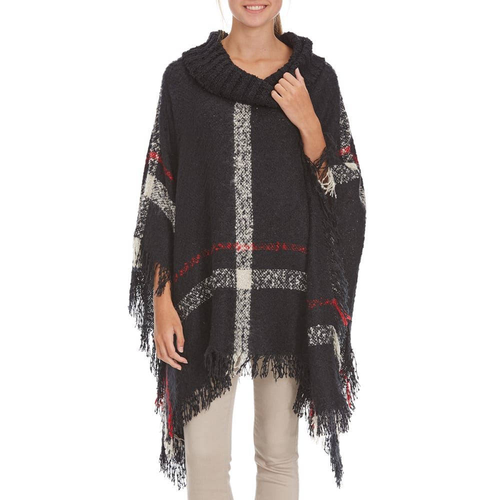 BY DESIGN Women's Plaid Knit Poncho - BLK/RED/WHITE