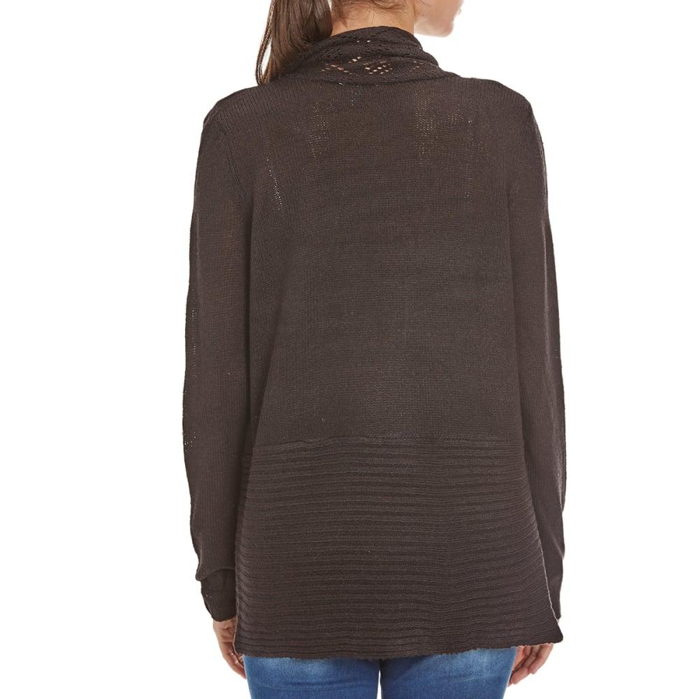 BY DESIGN Women's Crochet Open-Front Cardigan - DEEP BLACK