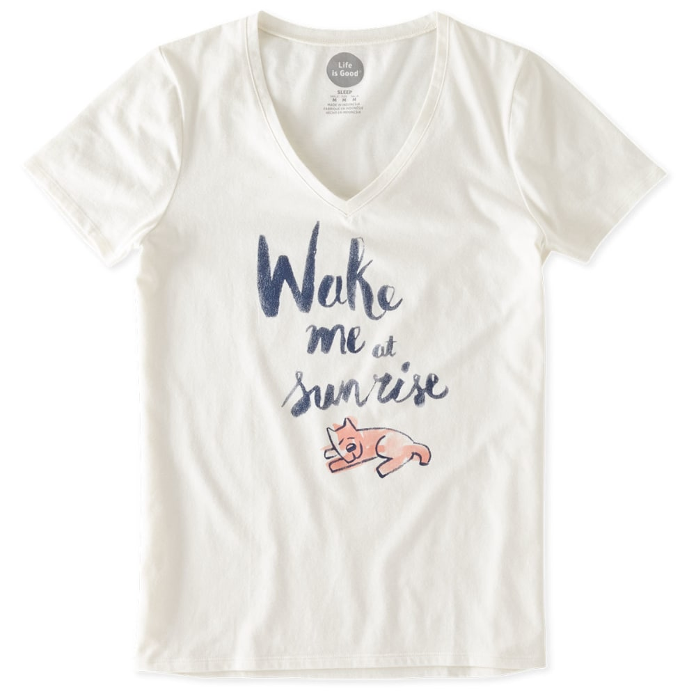 LIFE IS GOOD Women's Wake Me at Sunrise Rocket Sleep Tee - SIMPLY IVORY