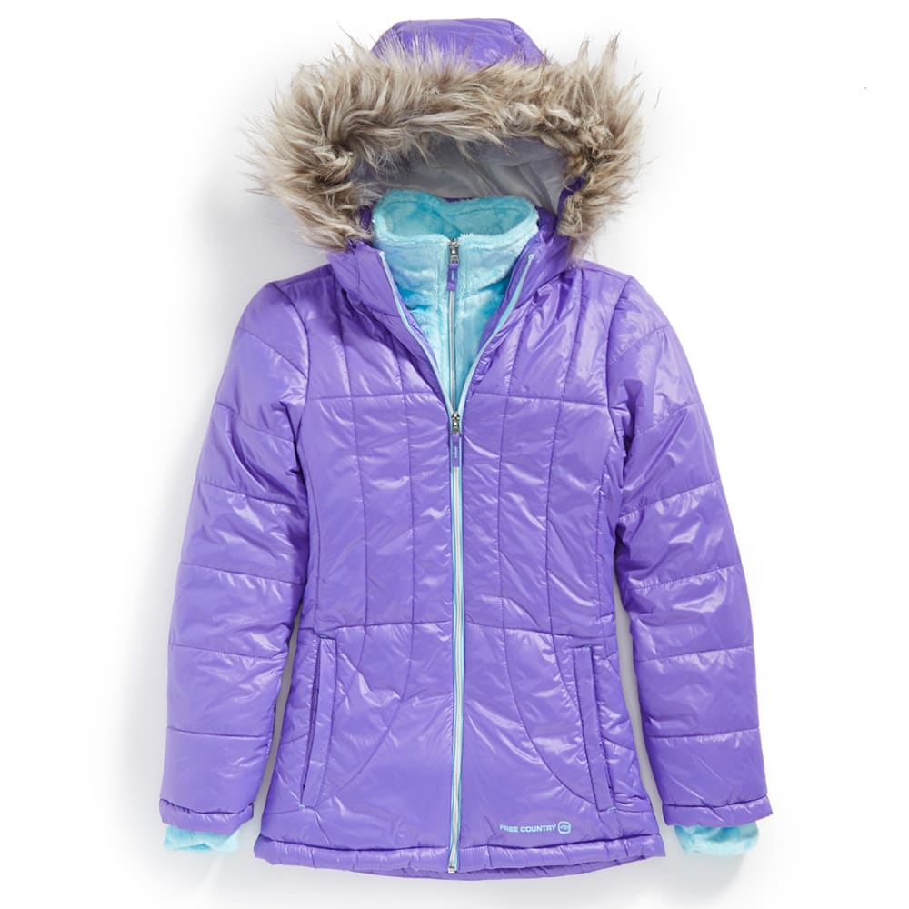 FREE COUNTRY Girls' Cire Puffer Jacket - ULTRAVIOLET