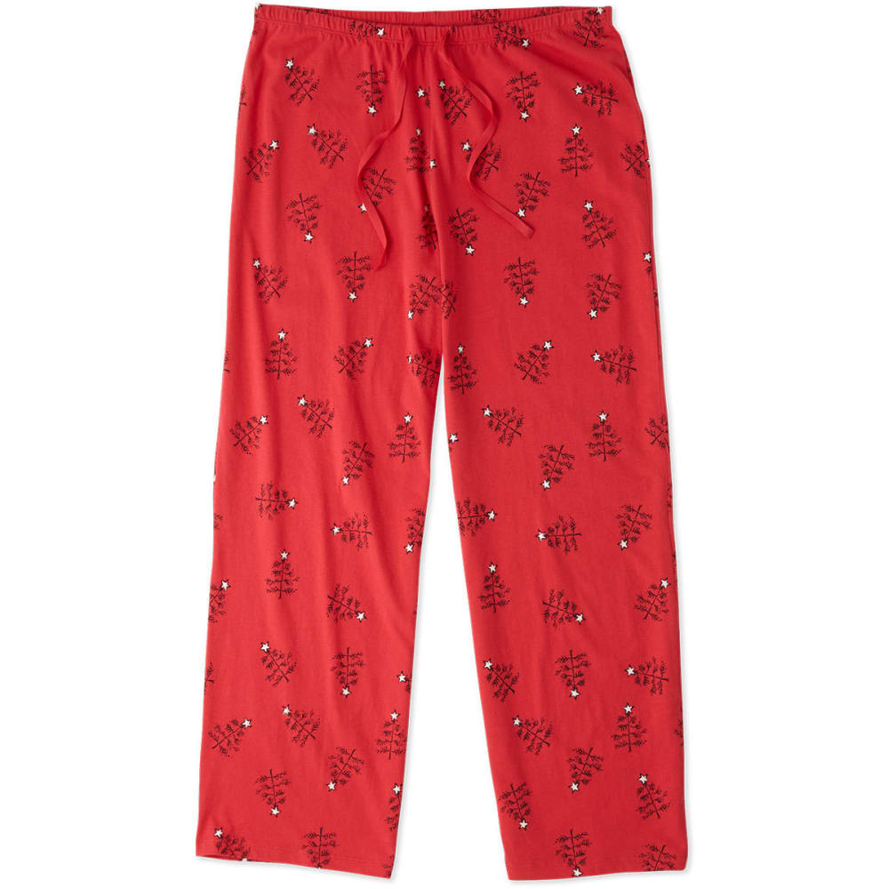 LIFE IS GOOD Women's Holiday Tree Jersey Sleep Pants - SIMPLY RED