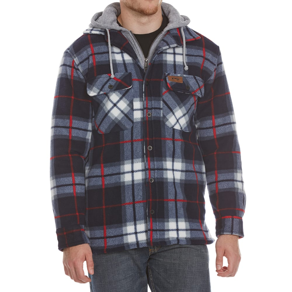 STILLWATER SUPPLY CO. Men's Sherpa Plaid Hoodie with Bib - PF1-NVY/RED PLAID