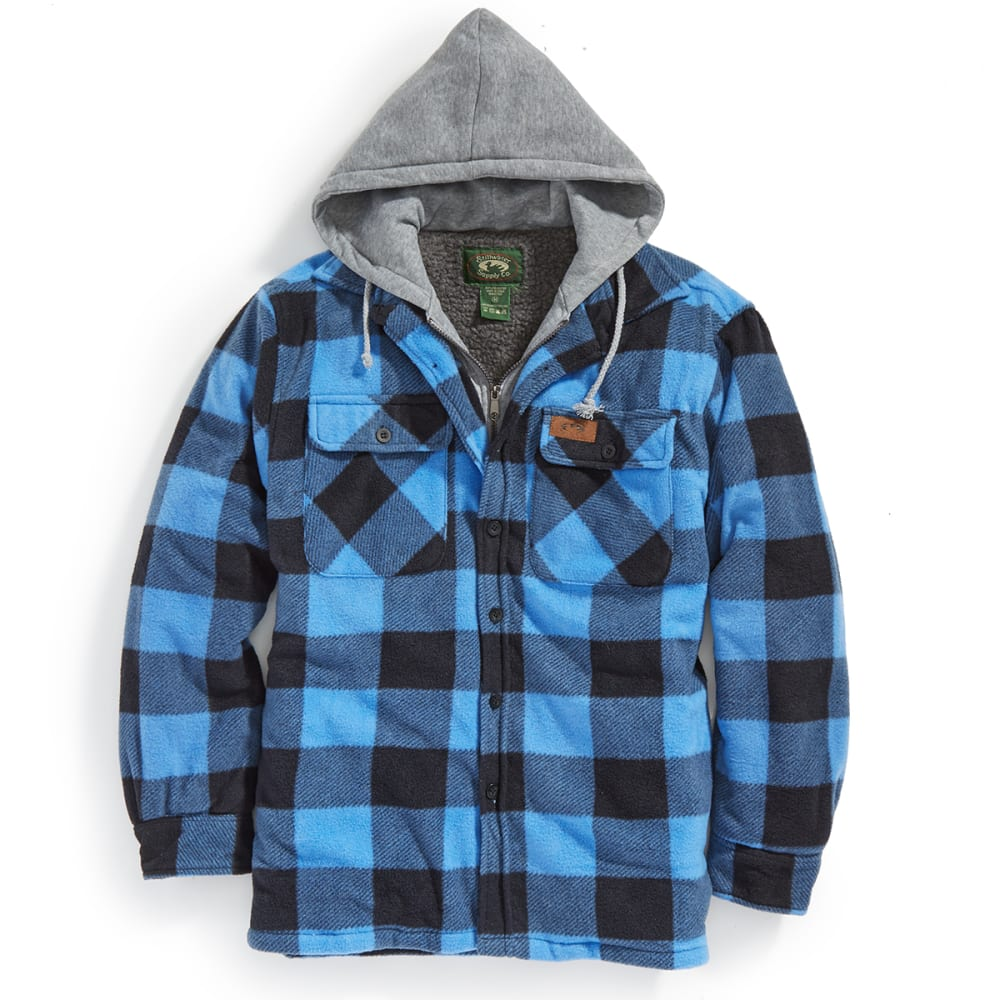 STILLWATER SUPPLY CO. Men's Sherpa Plaid Hoodie with Bib - PF14-BLU BUFFALO PLD