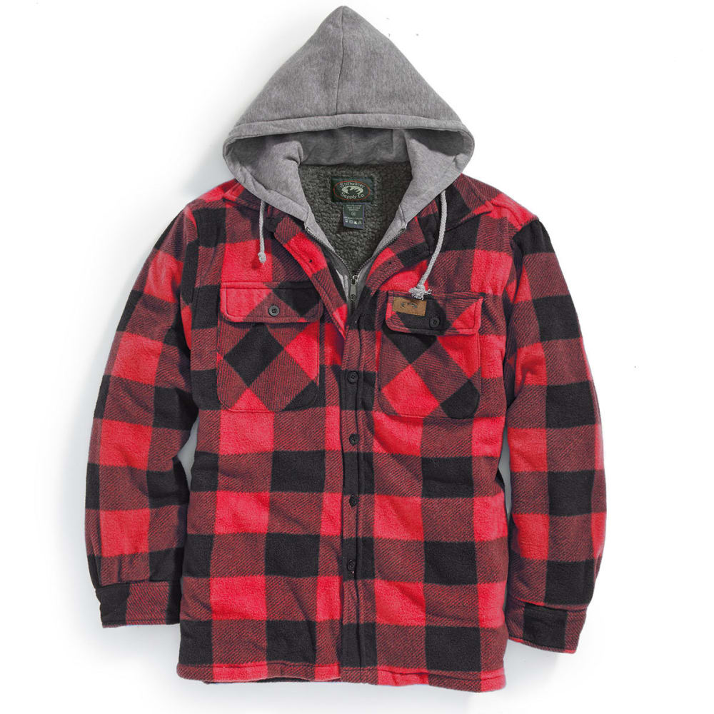 STILLWATER SUPPLY CO. Men's Sherpa Plaid Hoodie with Bib - PF15-RED BUFFALO PLD