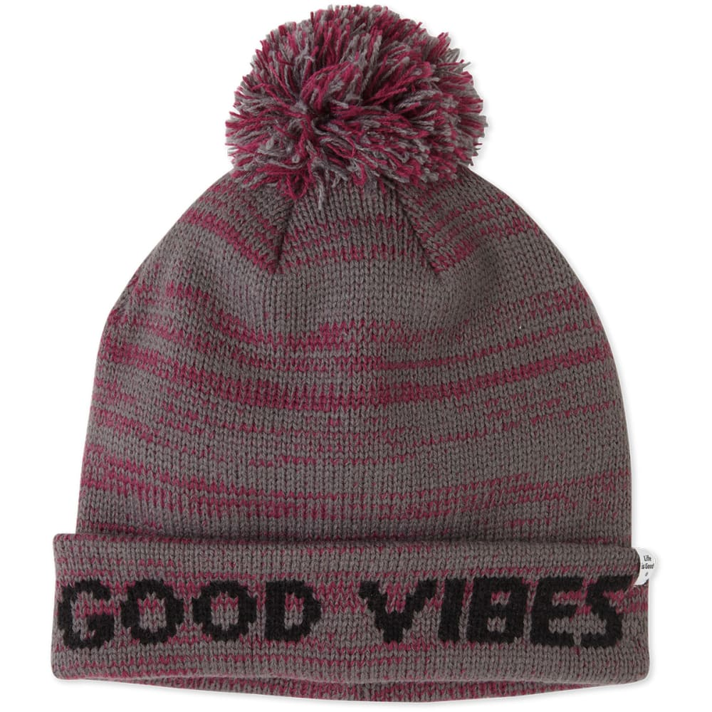 LIFE IS GOOD Women's Winter Pom Beanie - SLATE GRAY/SMOKY PLU