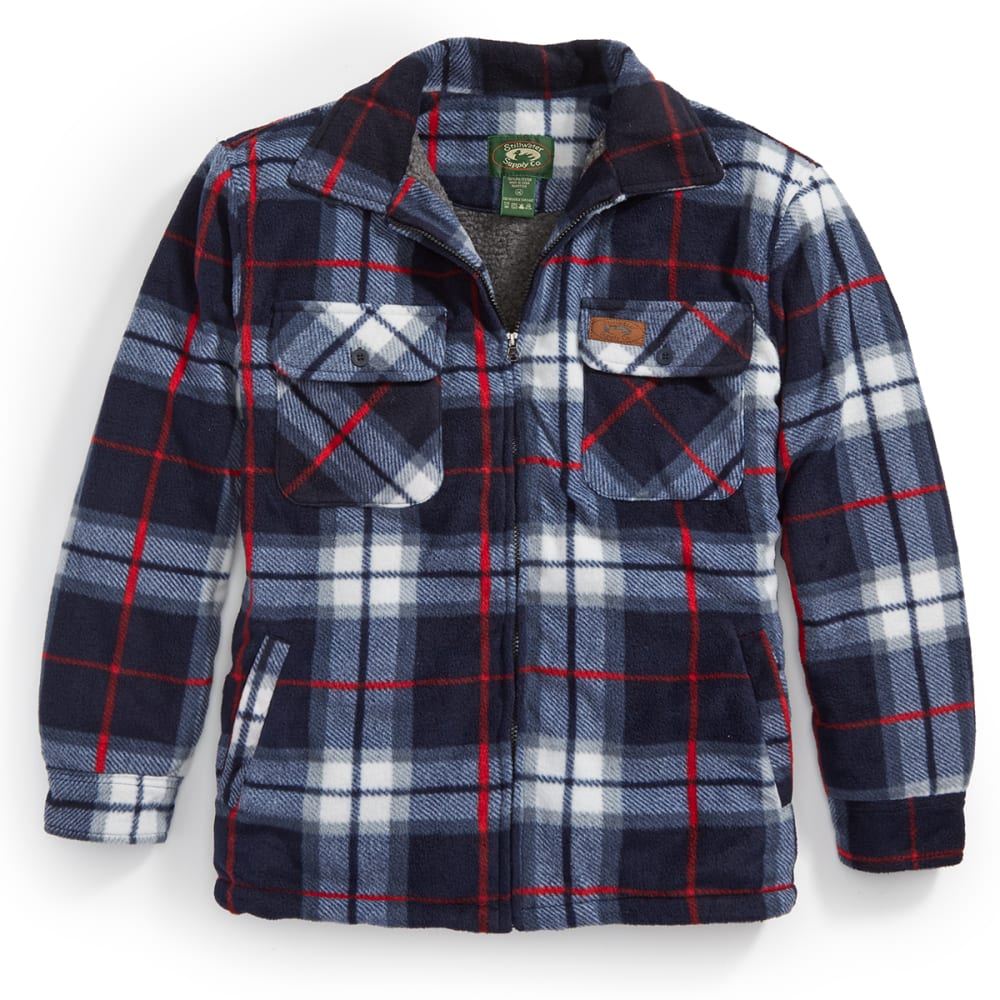 STILLWATER SUPPLY CO. Men's Plaid Shirt Jacket - PF1-NVY/RED PLAID